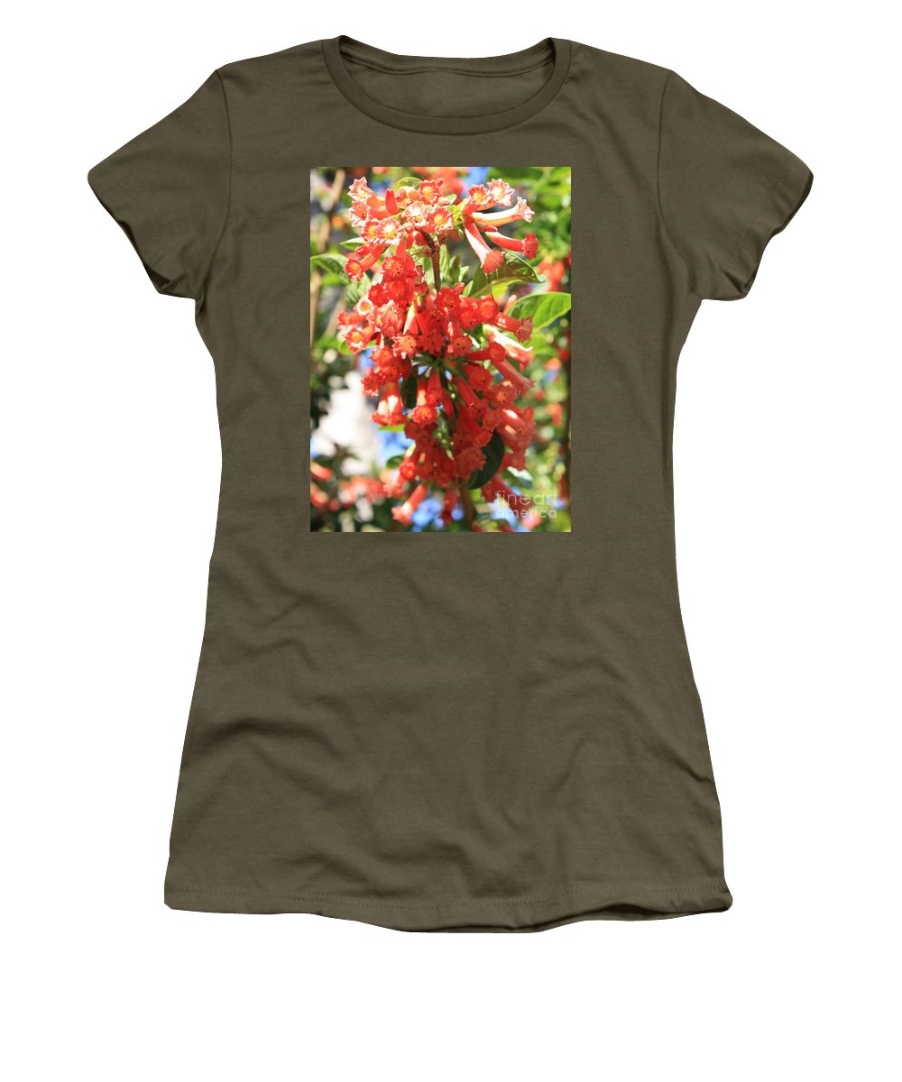 Orange Trumpet Flower Women's T-Shirt featuring the photograph Orange Trumpet Flower by Carol Groenen