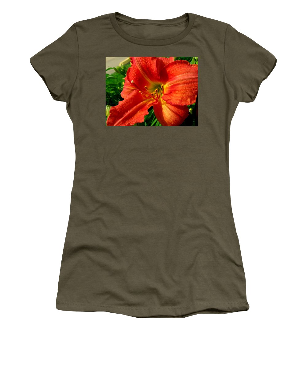 Lily Women's T-Shirt featuring the photograph Orange Trumpeting Lily by Erin Rednour