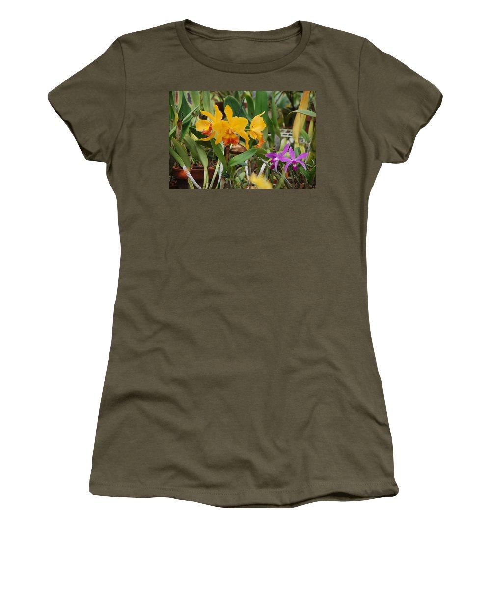 Orange Women's T-Shirt (Athletic Fit) featuring the photograph Orangepurple Orchids by Rob Hans