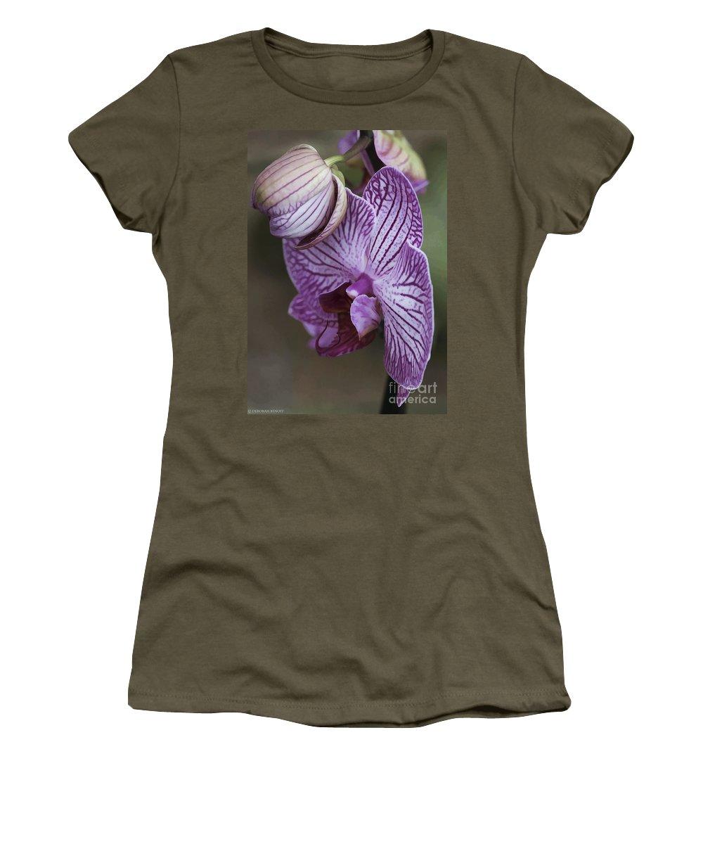 Flower Women's T-Shirt featuring the photograph Orchid Strips by Deborah Benoit