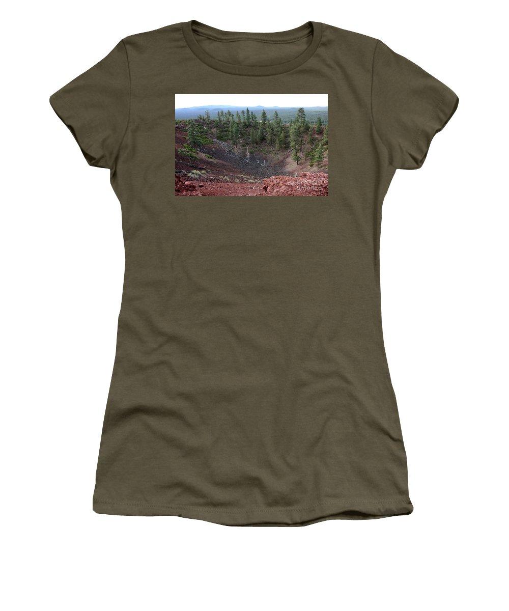 Oregon Women's T-Shirt (Athletic Fit) featuring the photograph Oregon Landscape - Crater At Lava Butte by Carol Groenen