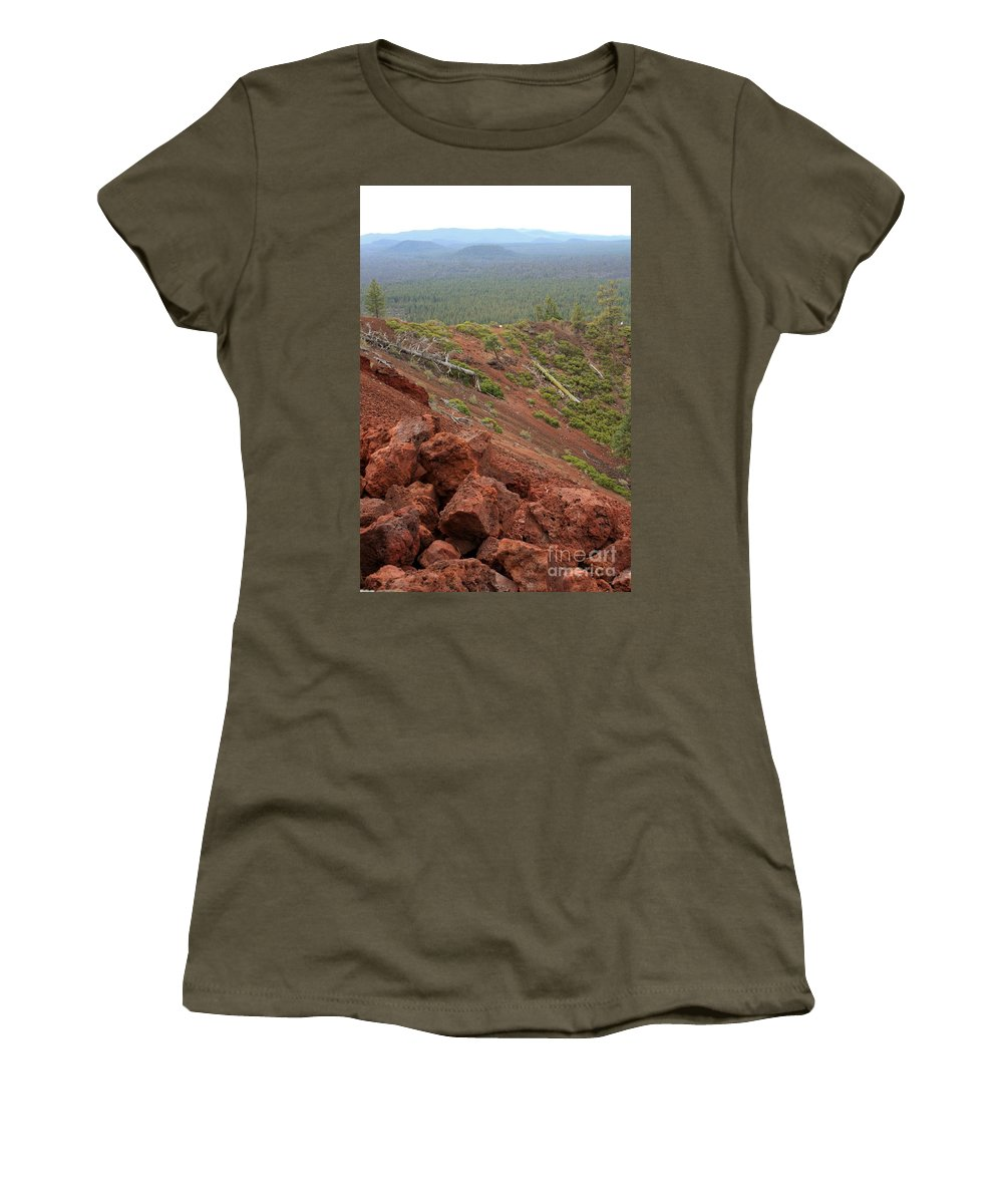 Oregon Women's T-Shirt featuring the photograph Oregon Landscape - Red Rocks At Lava Butte by Carol Groenen