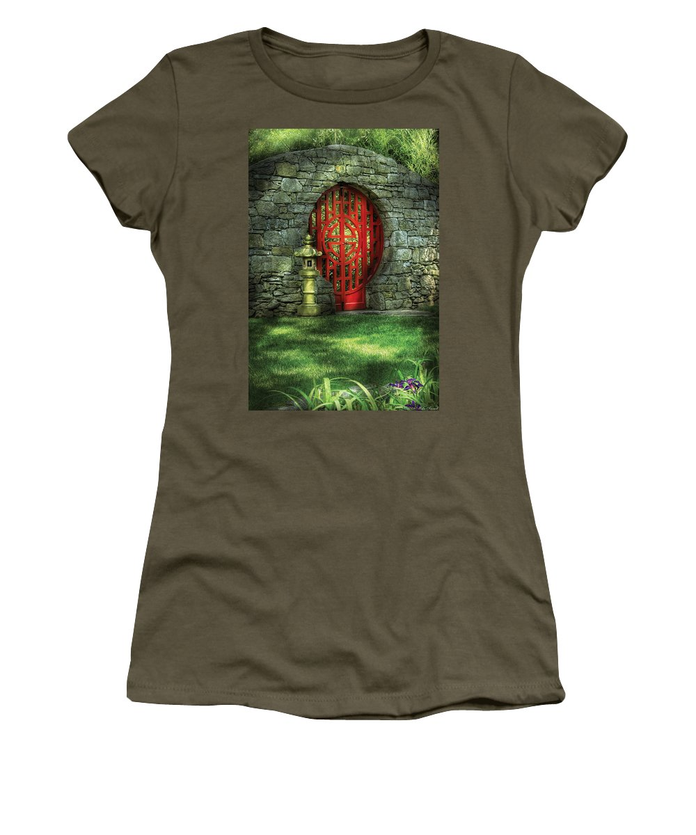 Door Women's T-Shirt featuring the photograph Orient - Door - The Moon Gate by Mike Savad