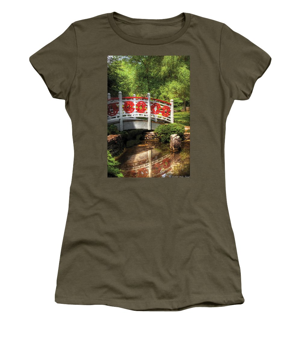 Savad Women's T-Shirt featuring the photograph Orient - Bridge - Tranquility by Mike Savad