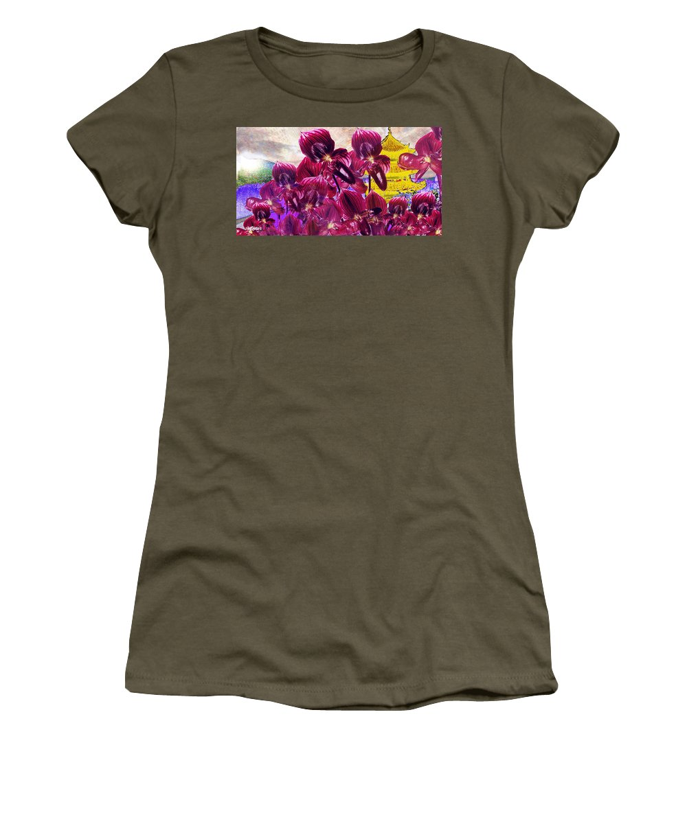 Far East Women's T-Shirt (Athletic Fit) featuring the digital art Oriental Orchid Garden by Seth Weaver