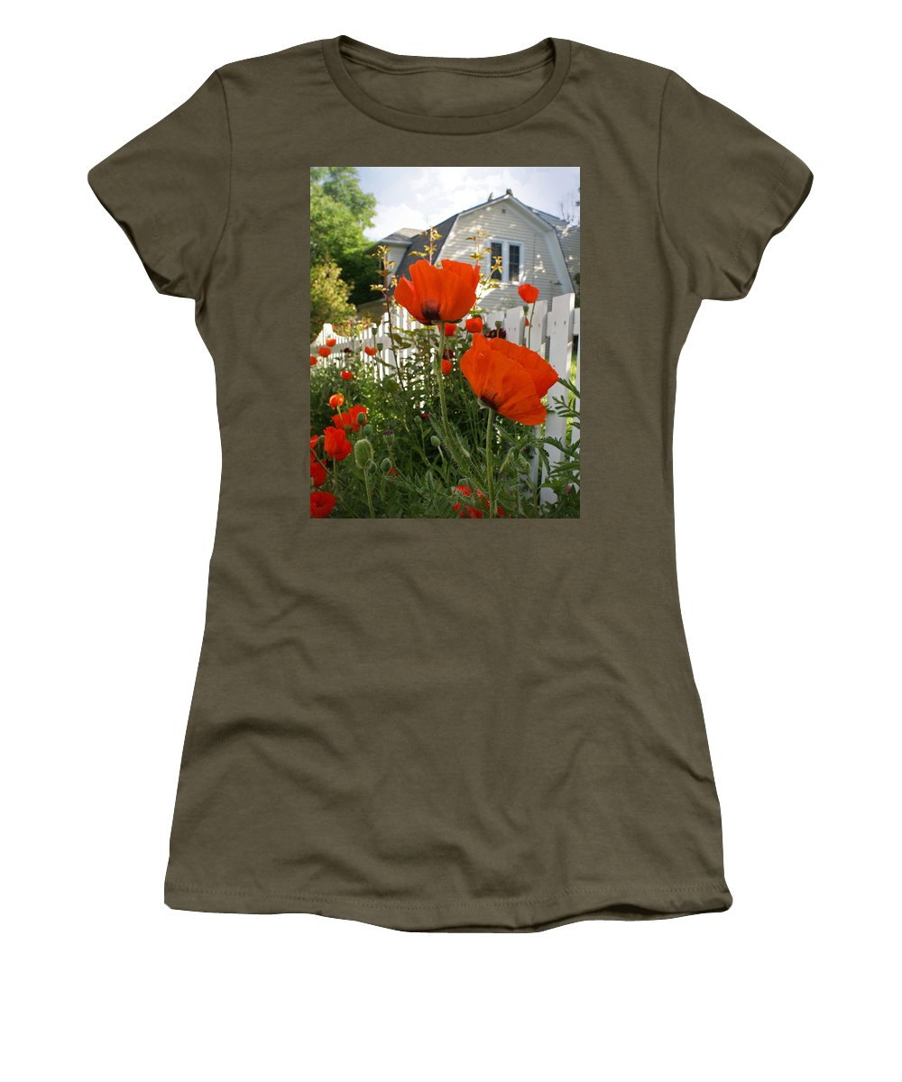 Poppies Women's T-Shirt (Athletic Fit) featuring the photograph Oriental Poppies by Heather Coen