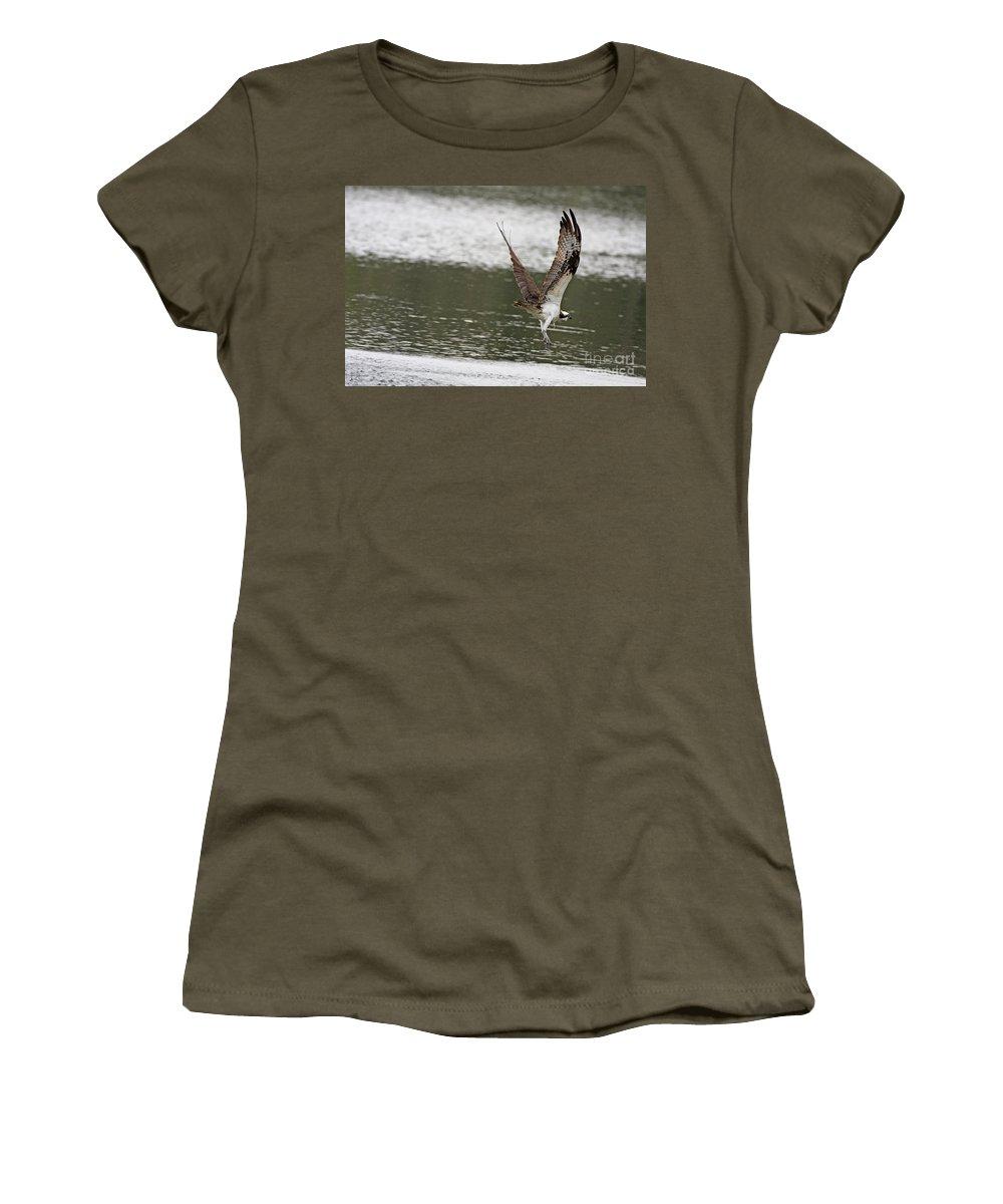 Osprey Women's T-Shirt (Athletic Fit) featuring the photograph Osprey Dive by Deborah Benoit