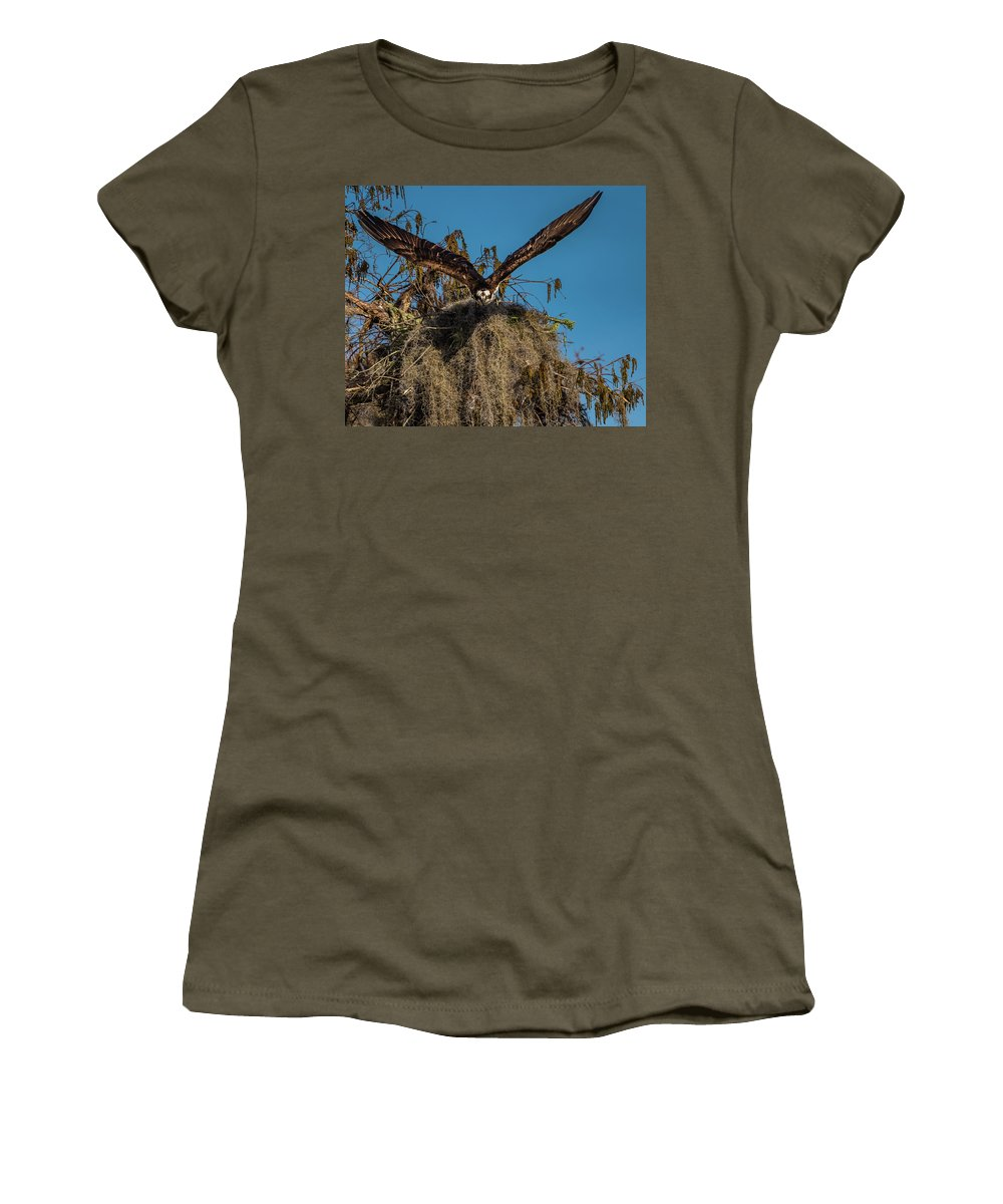 Birds Women's T-Shirt (Athletic Fit) featuring the photograph Osprey Working On Nest by Donald Trimble