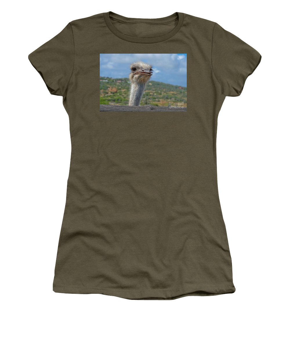 Ostrich Women's T-Shirt (Athletic Fit) featuring the photograph Ostrich Head by Thomas Marchessault