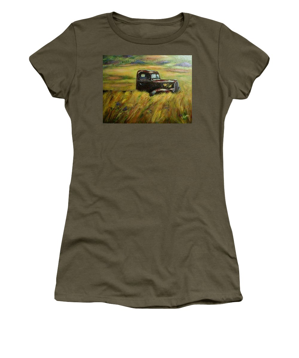 Vintage Truck Women's T-Shirt (Athletic Fit) featuring the painting Out To Pasture by Gail Kirtz