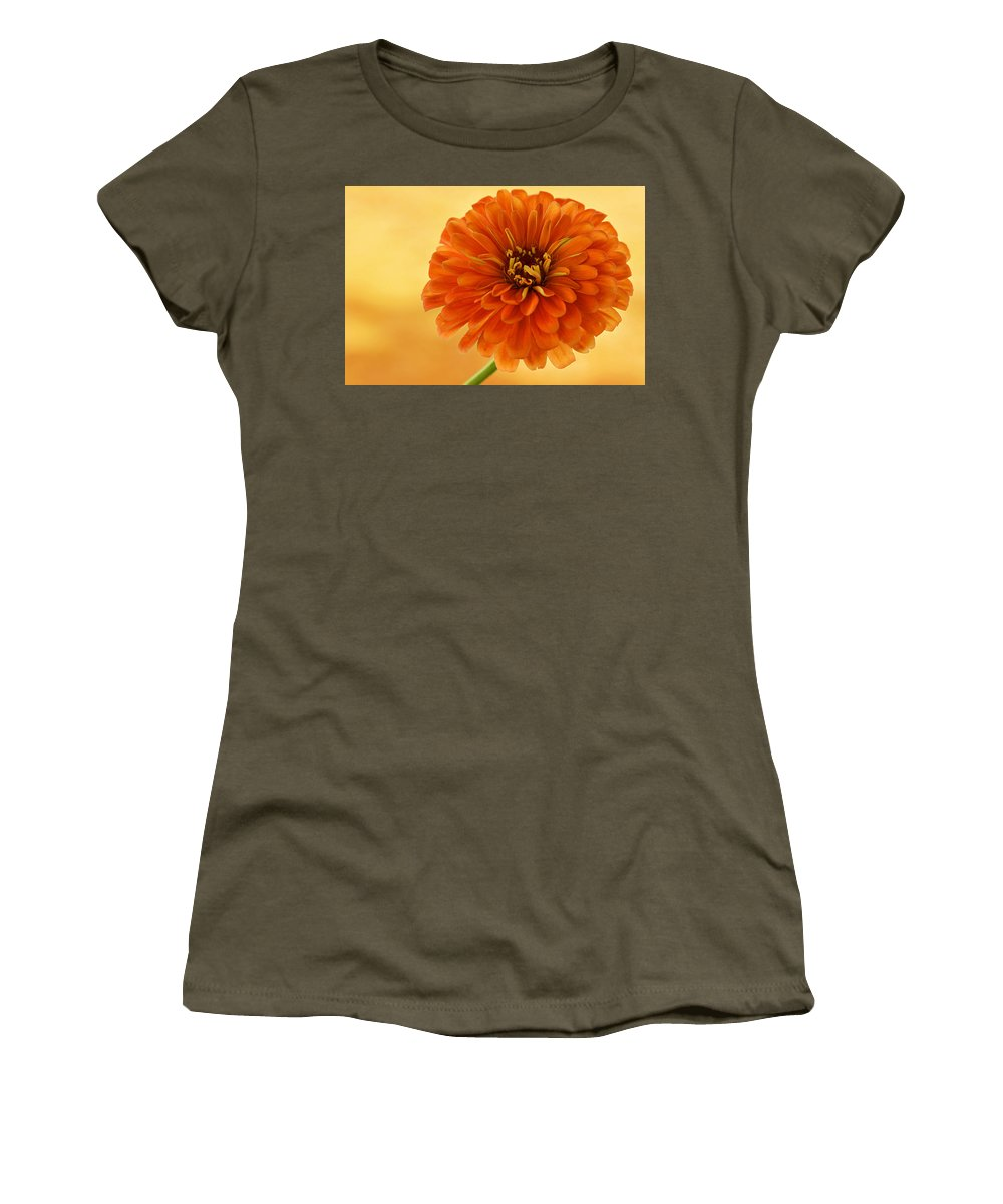 Flower Women's T-Shirt (Athletic Fit) featuring the photograph Outrageous Orange by Sandy Keeton