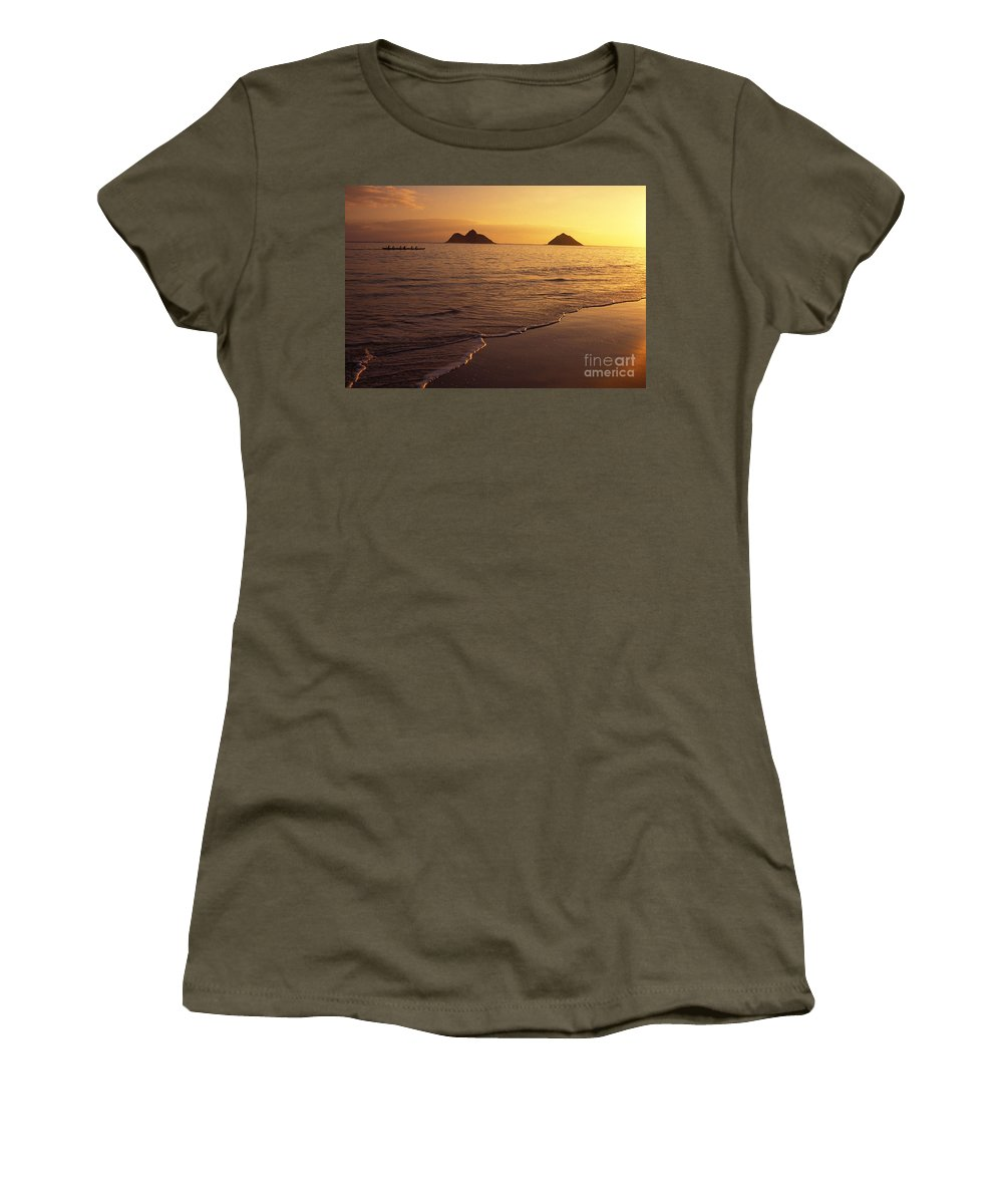 Beach Women's T-Shirt featuring the photograph Outrigger Canoe Paddlers by Dana Edmunds - Printscapes