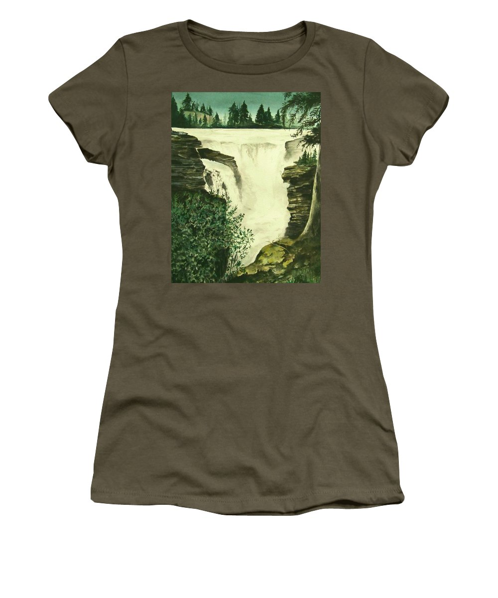 Landscape Watercolor Waterfall Scenic Scenery Landscape Rocks Trees Moss Women's T-Shirt (Athletic Fit) featuring the painting Over The Edge by Brenda Owen