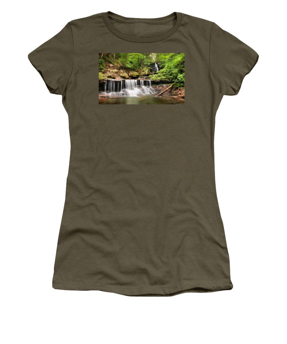 Waterfall Women's T-Shirt featuring the photograph Ozone Falls Ricketts Glen by Lori Deiter