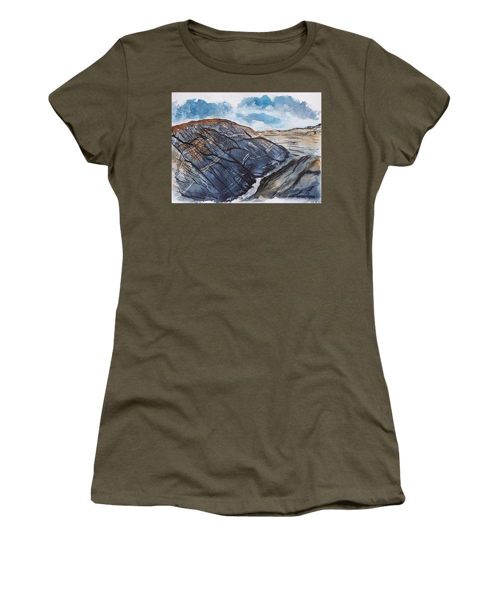 Plein Air Women's T-Shirt (Athletic Fit) featuring the painting Painted Desert Landscape Mountain Desert Fine Art by Derek Mccrea