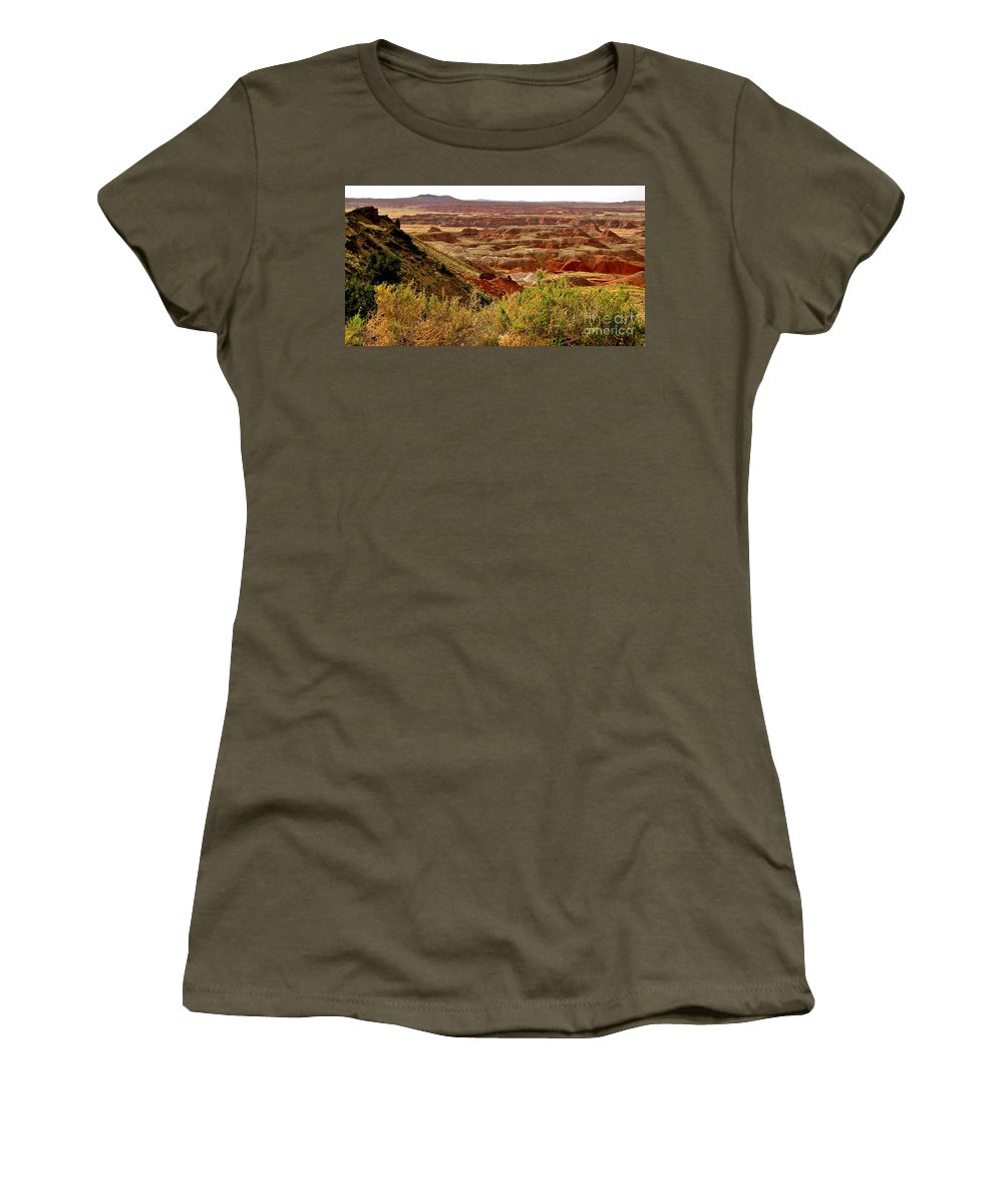 Painted Desert Vista Women's T-Shirt featuring the photograph Painted Desert Panorama by Marilyn Smith