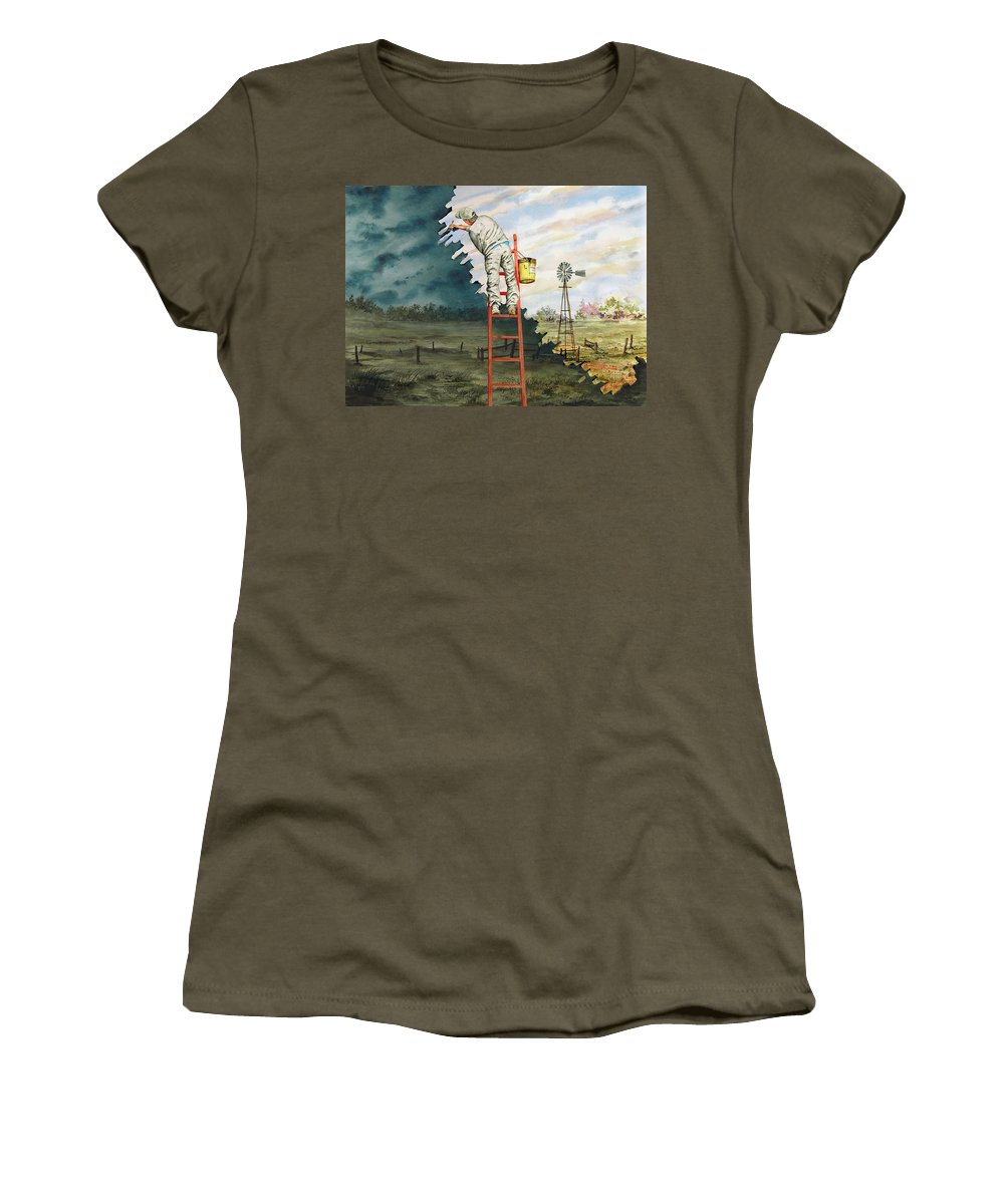 Landscape Women's T-Shirt (Athletic Fit) featuring the painting Paintin Up A Storm by Sam Sidders