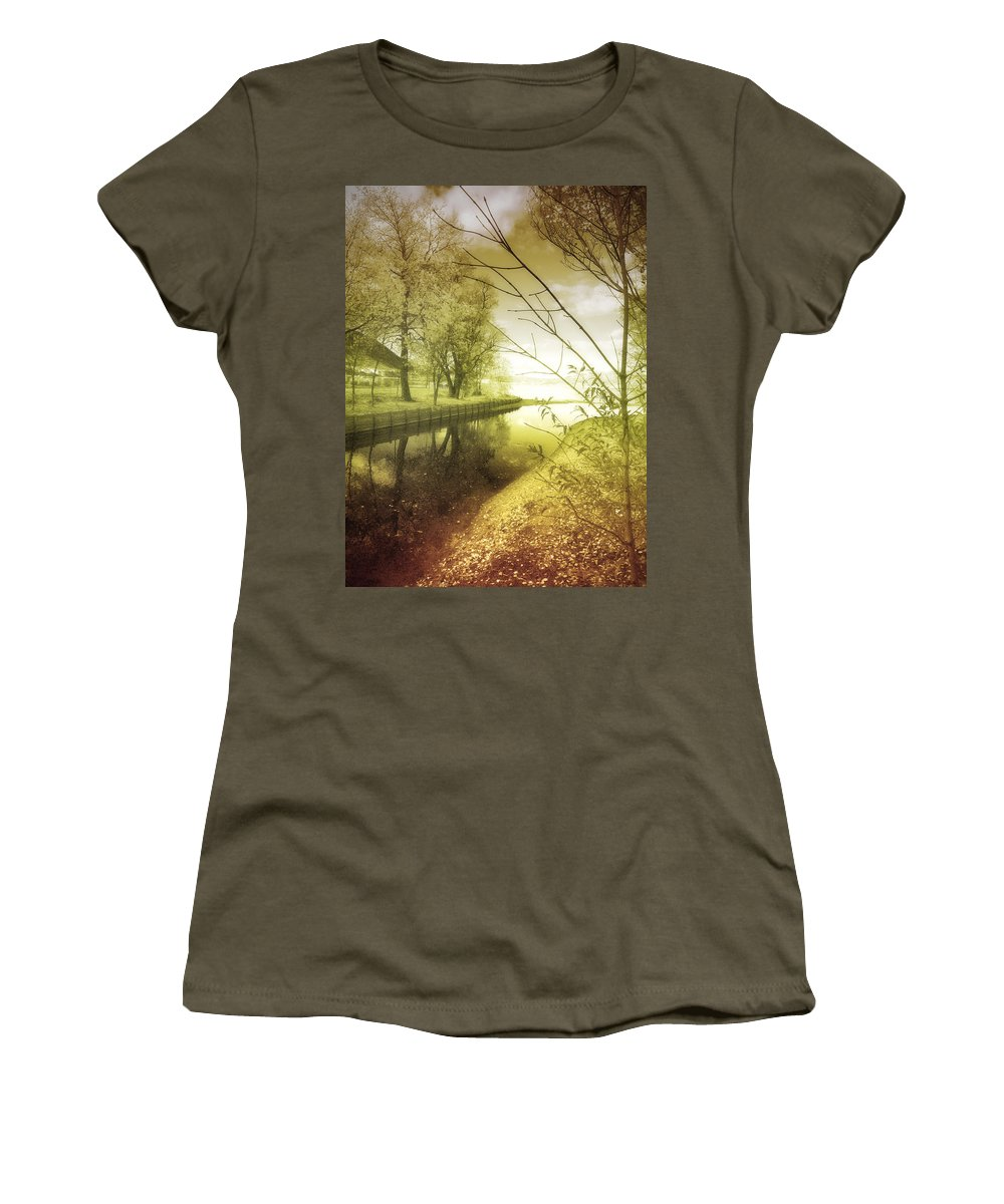 River Women's T-Shirt featuring the photograph Pale Reflections Of Life by Tara Turner