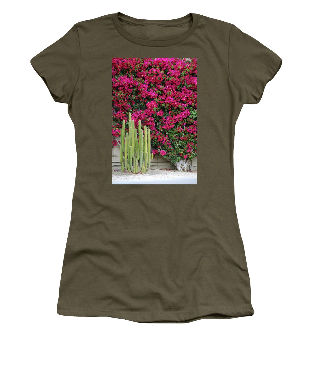 Cactus Women's T-Shirt (Athletic Fit) featuring the photograph Palm Desert Blooms by Carol Eliassen