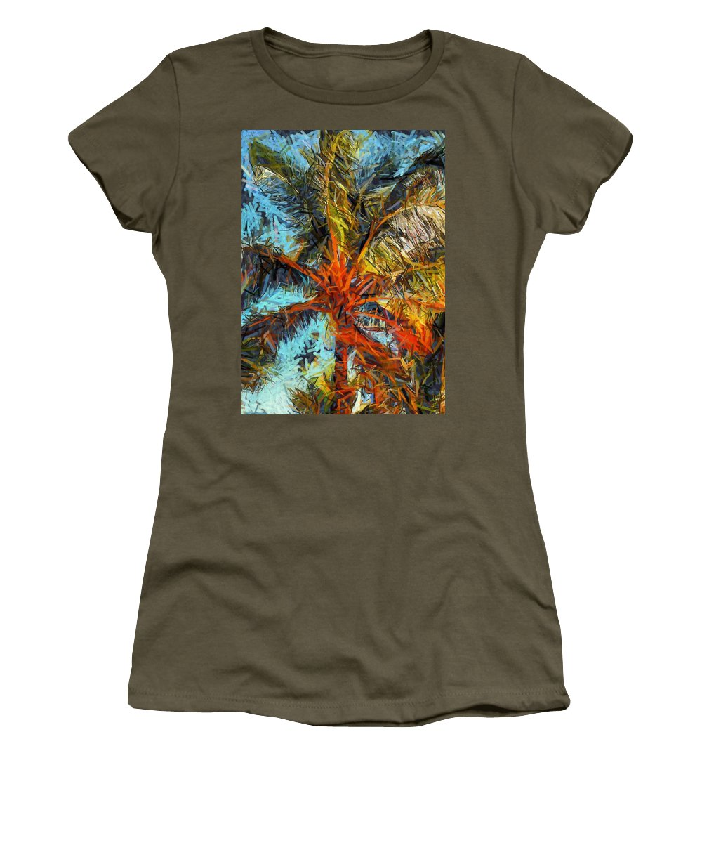 Palm Women's T-Shirt featuring the painting Palm No. 1 by Lelia DeMello