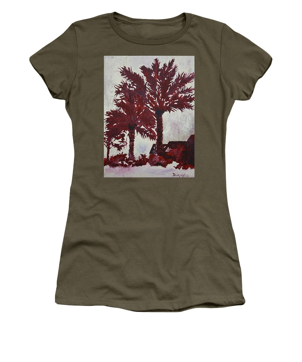 Palm Trees Women's T-Shirt featuring the painting Palm Trees Acrylic Modern Art Painting by Derek Mccrea