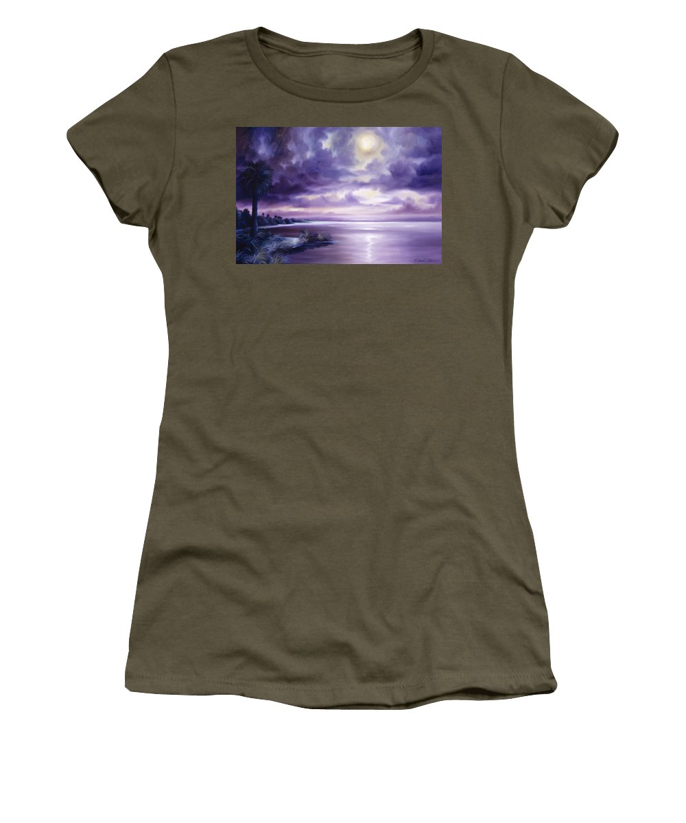 Moon Women's T-Shirt featuring the painting Palmetto Moonscape by James Christopher Hill