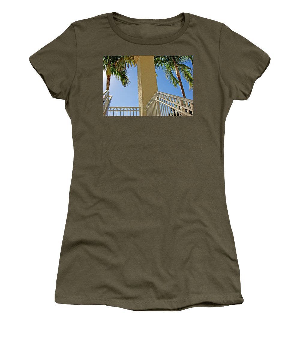 Palm Women's T-Shirt featuring the photograph Palms And Stairs by Zal Latzkovich