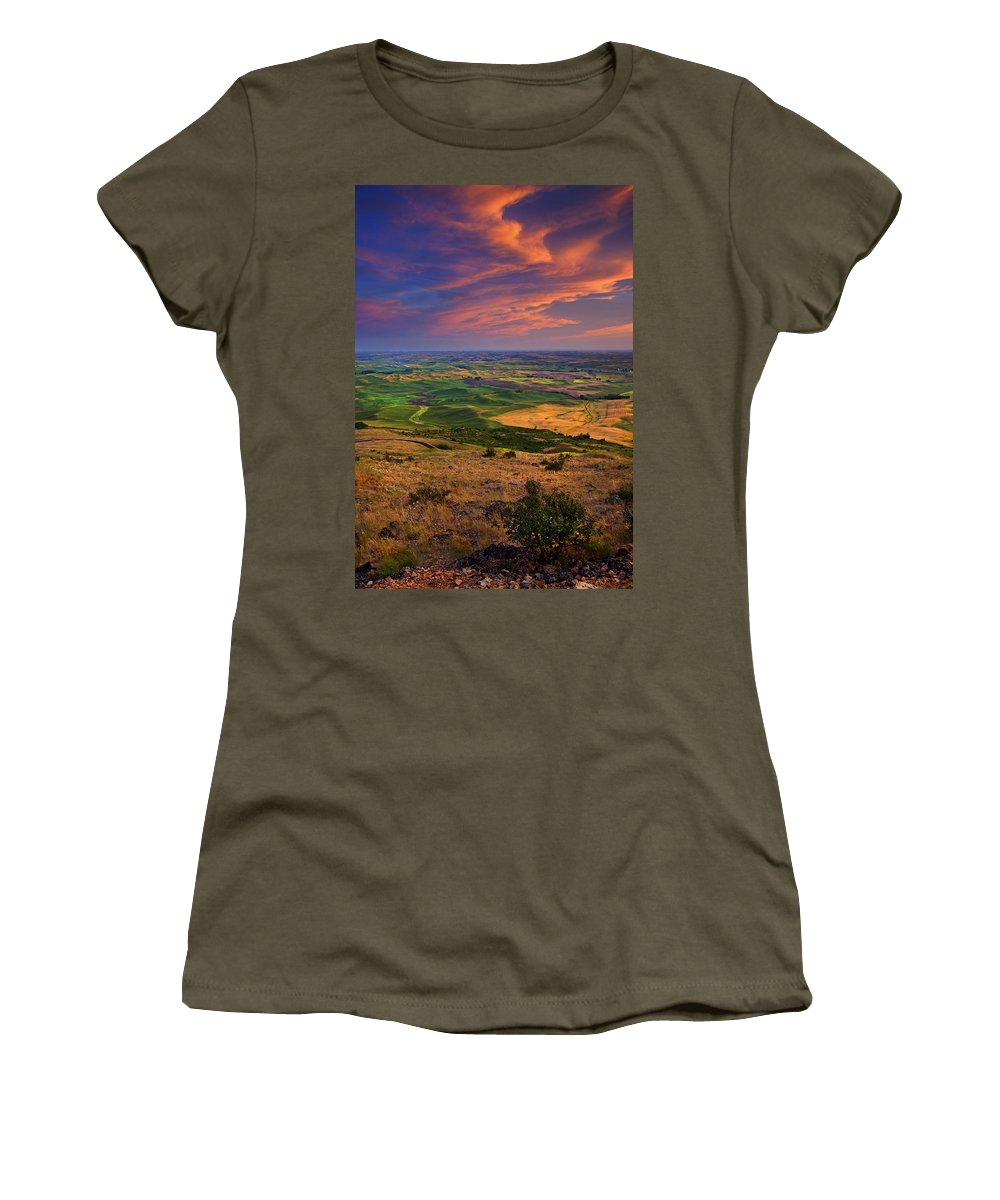 Palouse Women's T-Shirt featuring the photograph Palouse Skies Ablaze by Mike Dawson