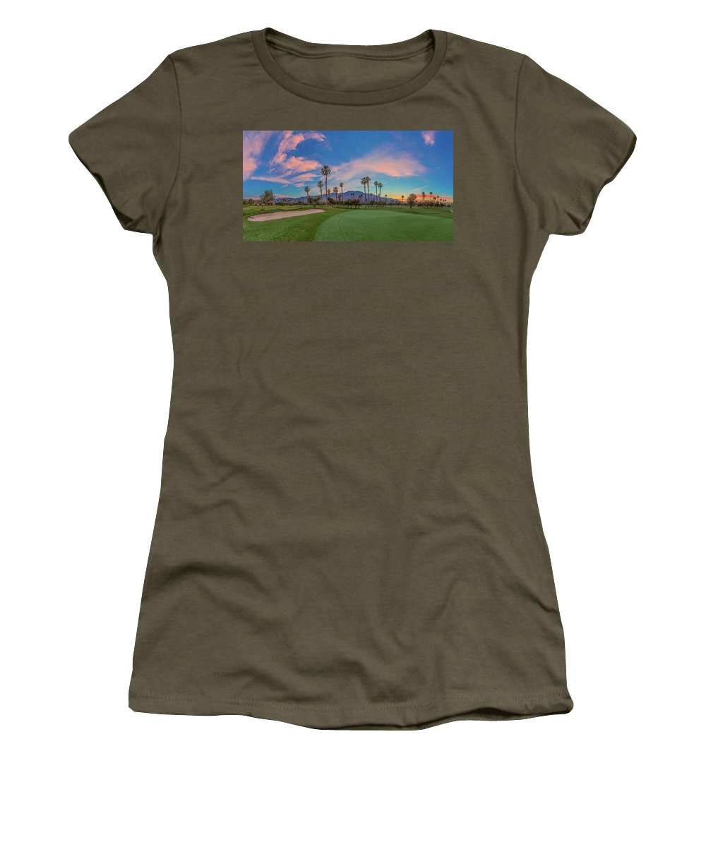 Palm Springs Women's T-Shirt featuring the photograph Panorama Palm Springs Golfing by Scott Campbell