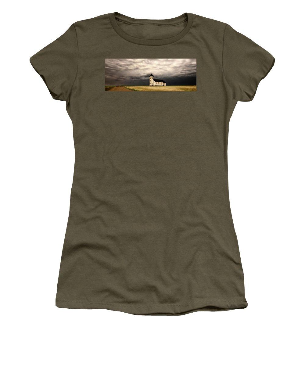 Women's T-Shirt featuring the digital art Panoramic Lightning Storm And Prairie Church by Mark Duffy