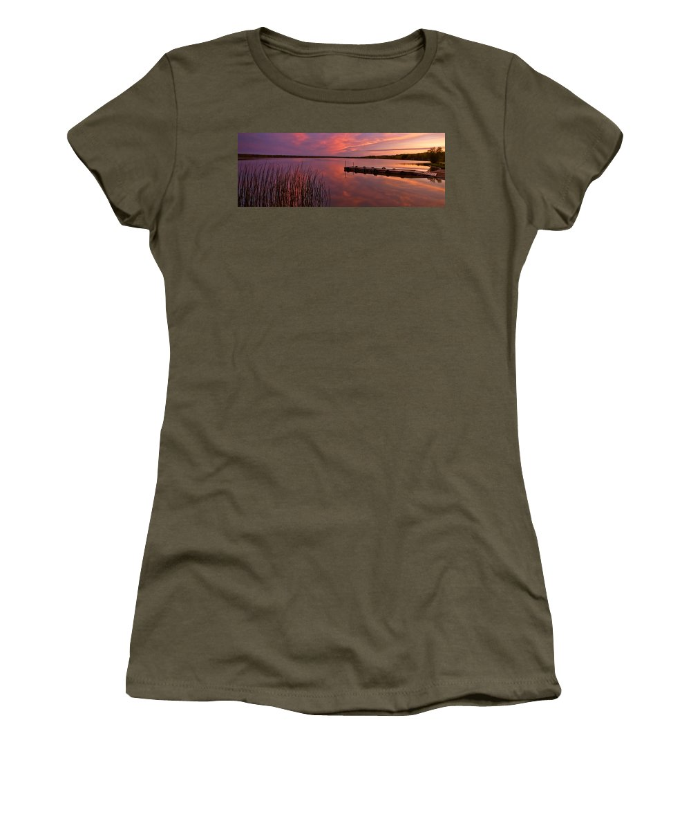 Women's T-Shirt featuring the digital art Panoramic Sunset Northern Lake by Mark Duffy