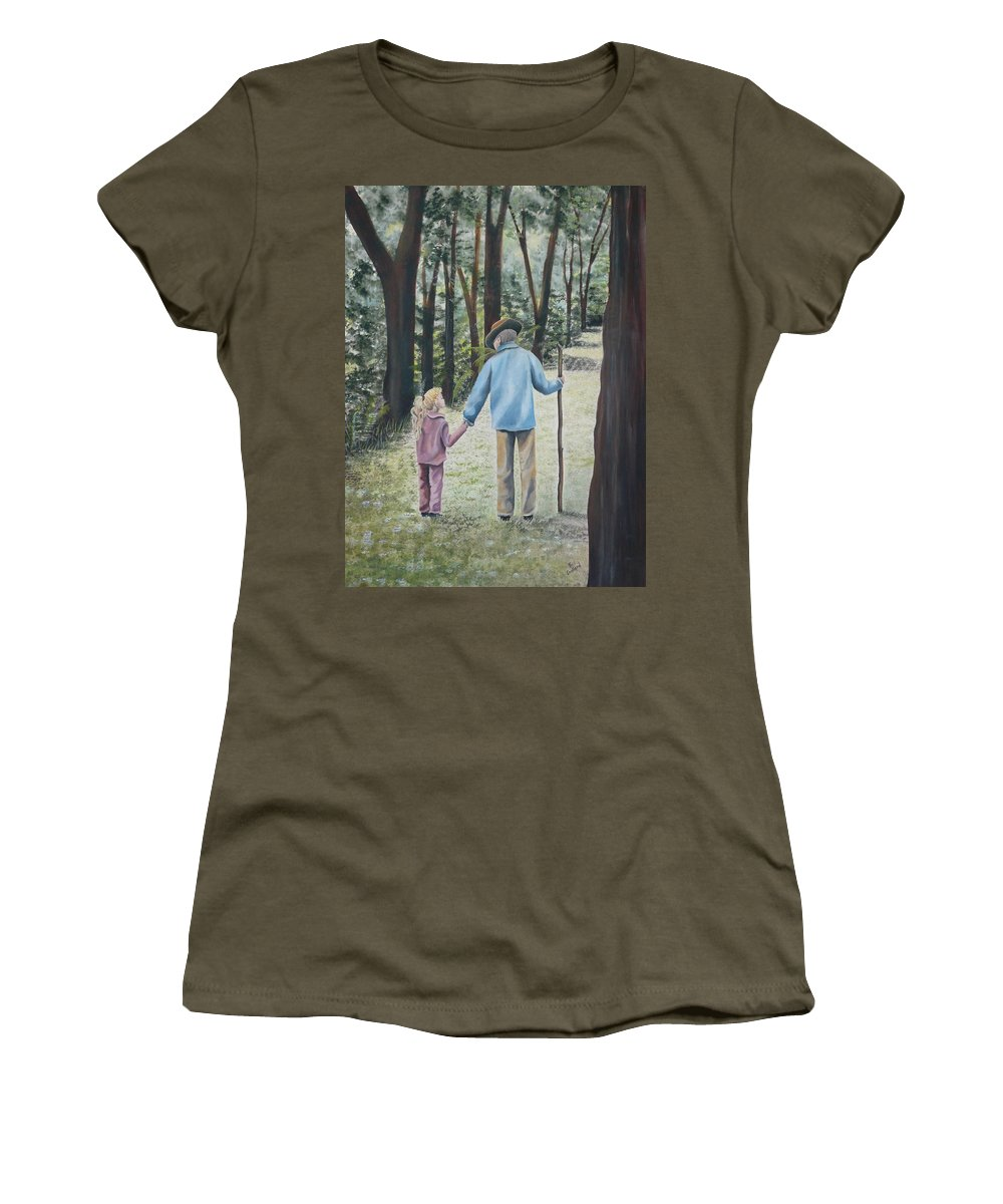 Grandfather Women's T-Shirt (Athletic Fit) featuring the painting Papa by Kris Crollard