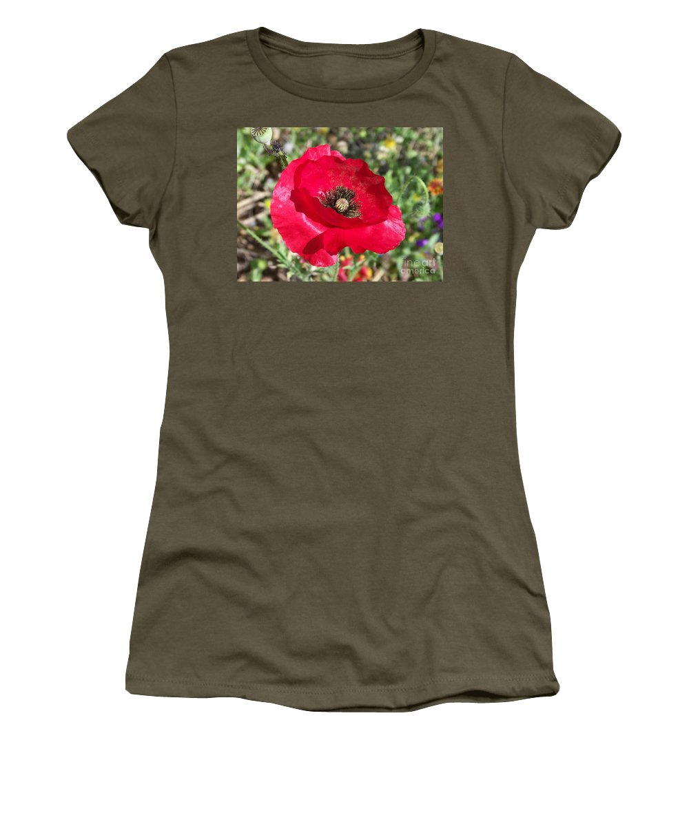 Red Women's T-Shirt (Athletic Fit) featuring the photograph Paper Flower by Kathy McClure
