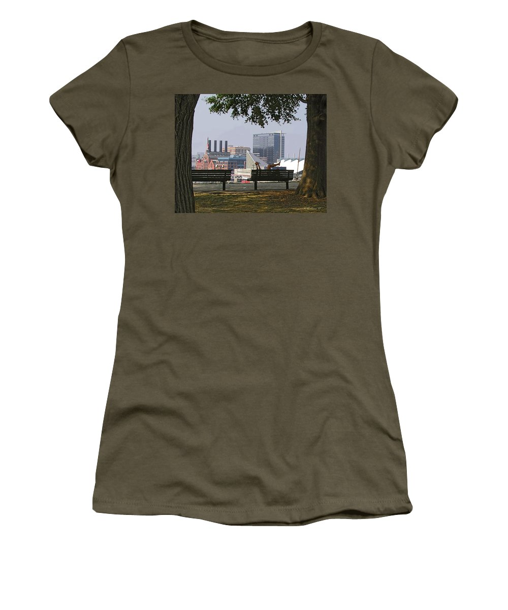 2d Women's T-Shirt featuring the photograph Park Bench Reading by Brian Wallace