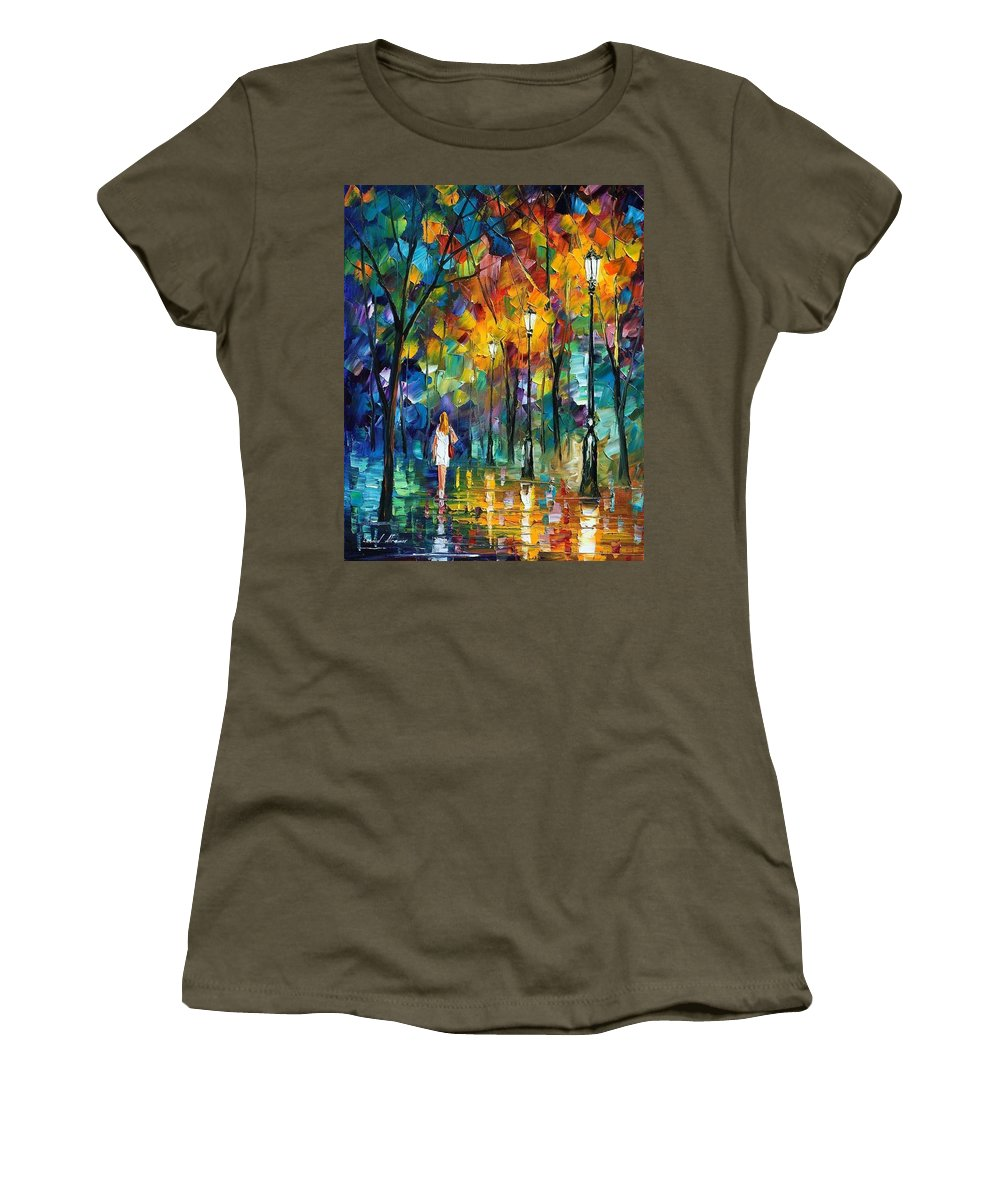 Afremov Women's T-Shirt (Athletic Fit) featuring the painting Park New by Leonid Afremov