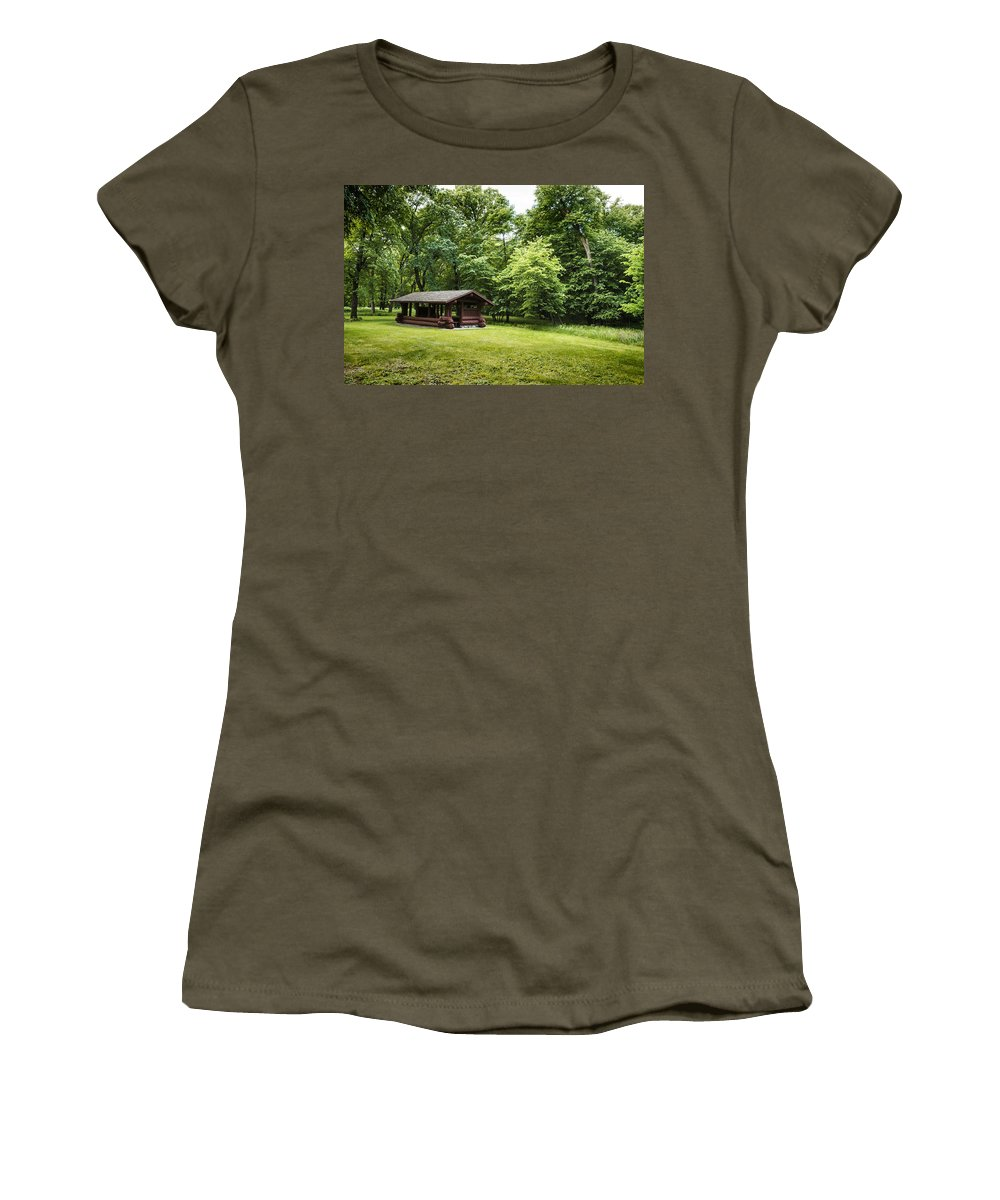Unique Women's T-Shirt featuring the photograph Park Shelter In Lush Forest Landscape by Donald Erickson