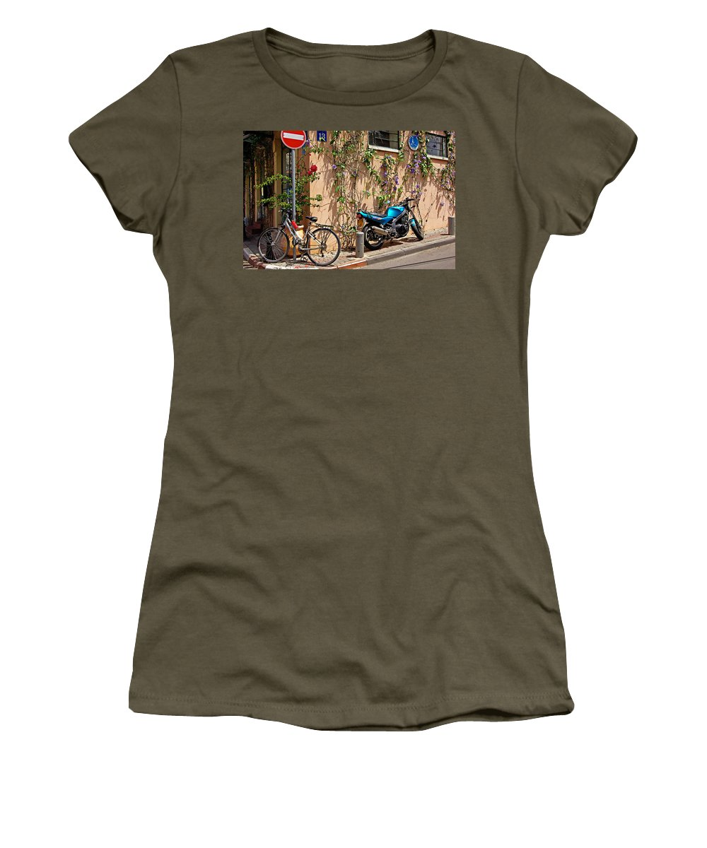 Parking Women's T-Shirt (Athletic Fit) featuring the photograph Parking Corner by Zal Latzkovich