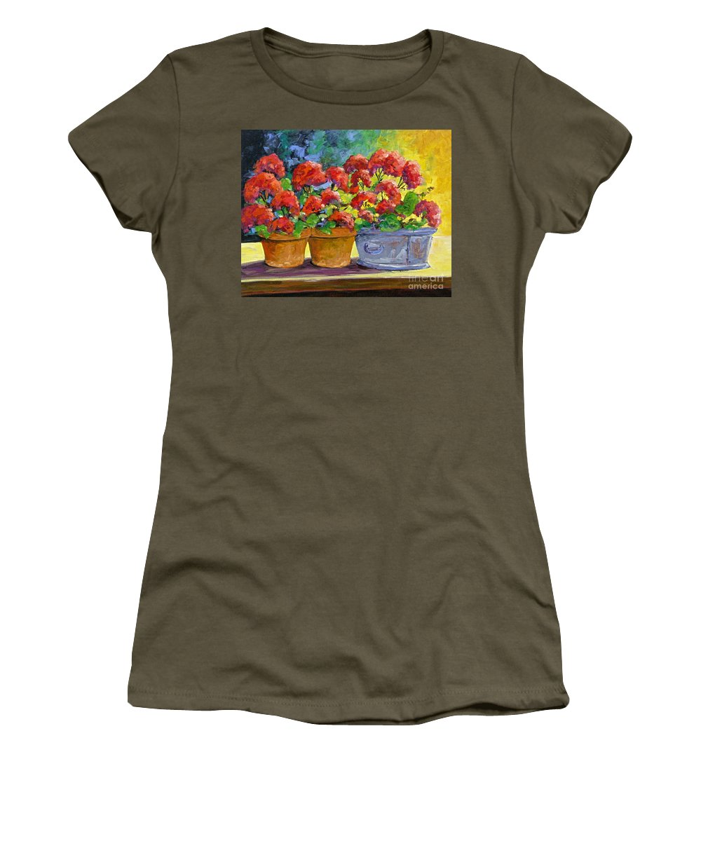 Still Life; Geraniums; Flowers; Terra Cotta; Red; Blue; Yellow; Green; Pranke; Women's T-Shirt (Athletic Fit) featuring the painting Passion In Red by Richard T Pranke