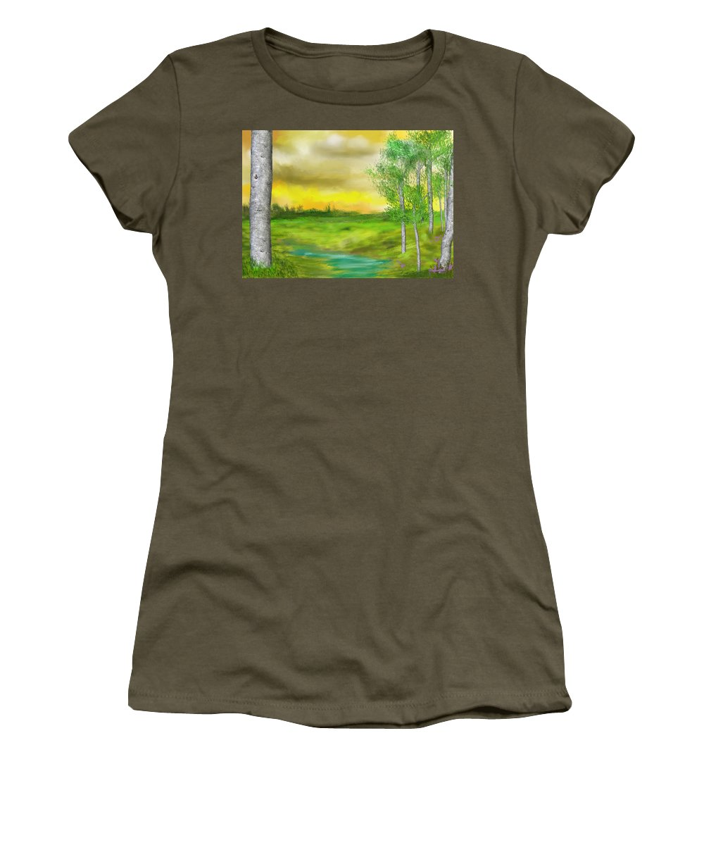 Landscape Women's T-Shirt featuring the digital art Pastoral by David Lane