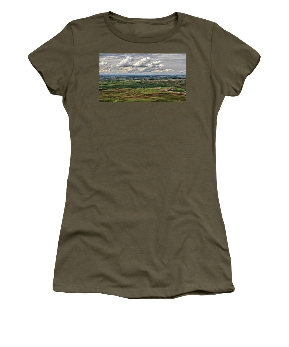 Patchwork Palouse Women's T-Shirt featuring the photograph Patchwork Palouse by Wes and Dotty Weber