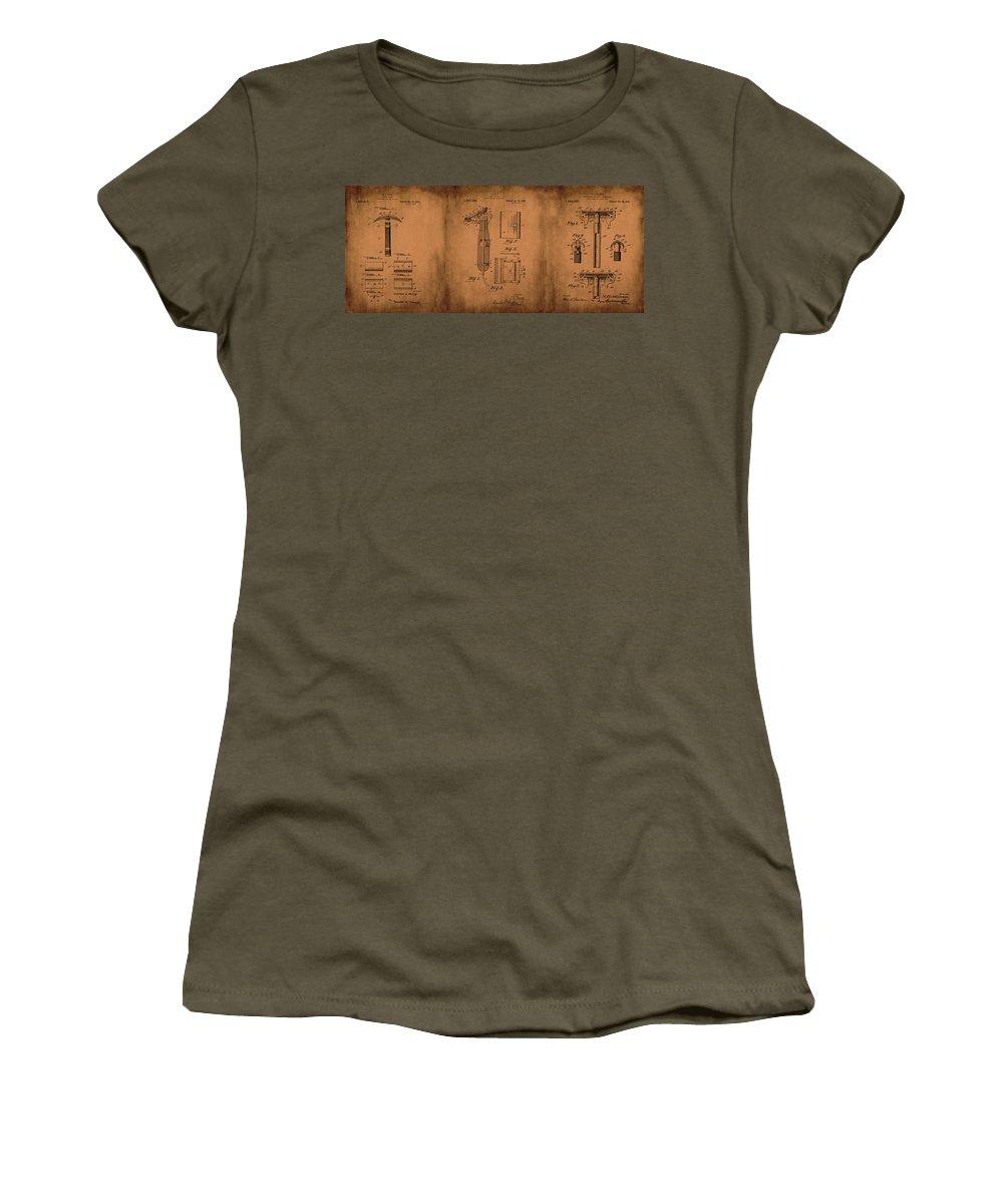 1920 Women's T-Shirt featuring the mixed media Patent Razor Art Barry Toles Johansan by Lesa Fine