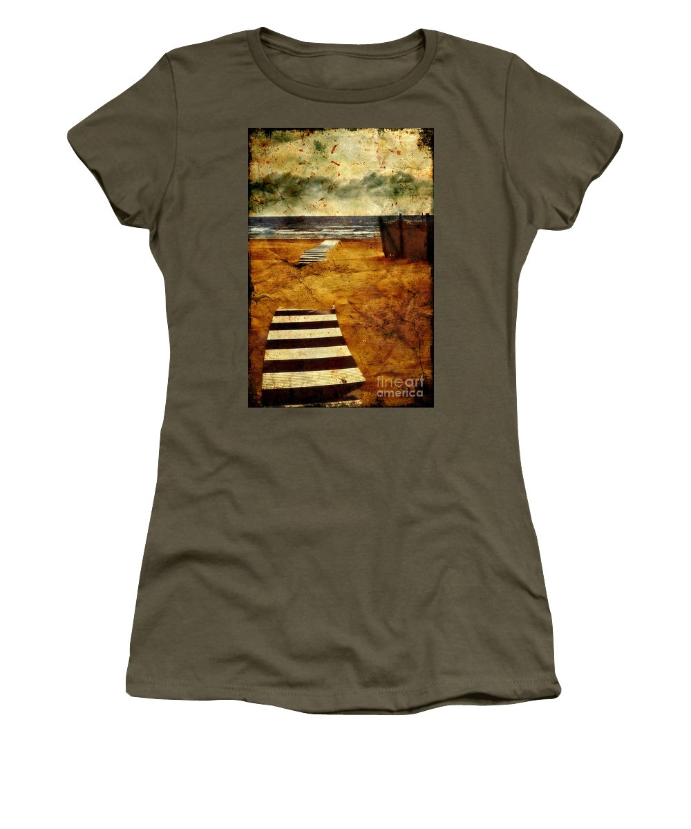 Path Women's T-Shirt (Athletic Fit) featuring the photograph Pathway To The Sea II by Silvia Ganora