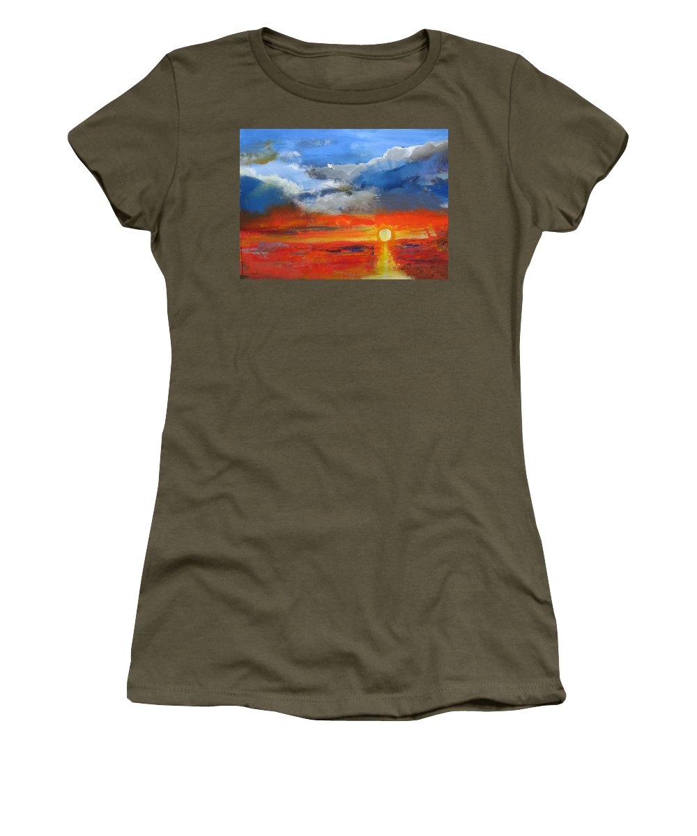 Sunset Women's T-Shirt featuring the painting Pathway To The Sun by Melody Horton Karandjeff