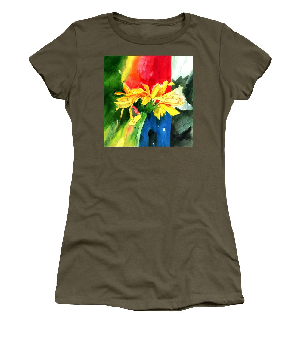 Peace Women's T-Shirt (Athletic Fit) featuring the painting Peace Square by Anil Nene