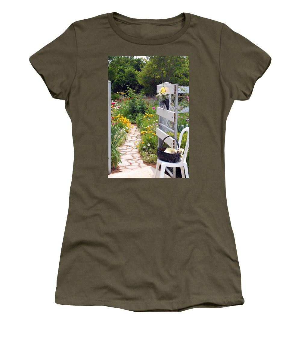 Garden Women's T-Shirt featuring the photograph Peaceful Garden by Amy Fose