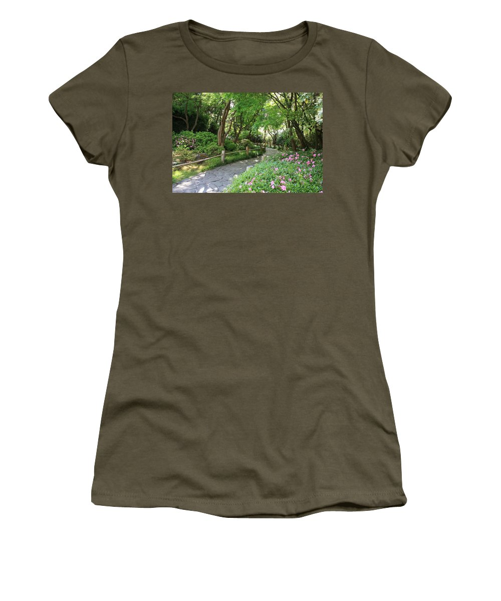Garden Path Women's T-Shirt (Athletic Fit) featuring the photograph Peaceful Garden Path by Carol Groenen