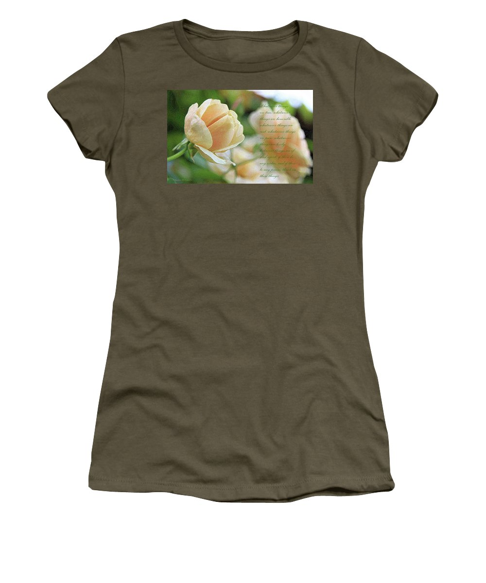 Rose Women's T-Shirt featuring the photograph Peach Rose by Inspirational Photo Creations Audrey Taylor