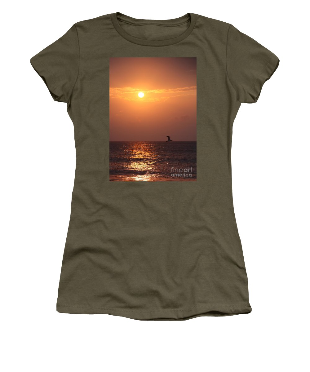 Birds Women's T-Shirt (Athletic Fit) featuring the photograph Peach Sunrise And Bird In Flight by Nadine Rippelmeyer