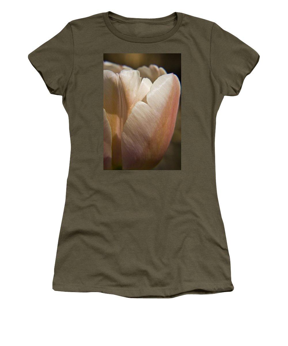 Peach Women's T-Shirt (Athletic Fit) featuring the photograph Peach Tulip by Teresa Mucha