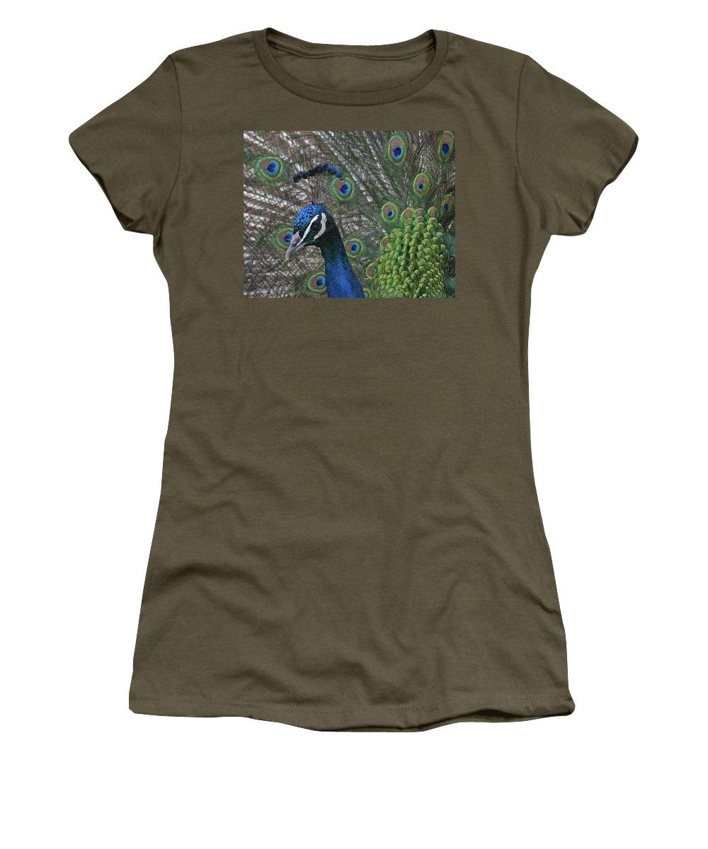 Bird Women's T-Shirt featuring the photograph Peacock Enhanced by Ernie Echols